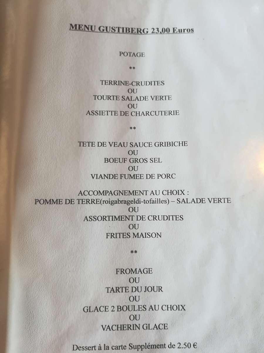 Le même menu depuis 7 ans...